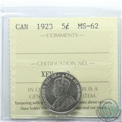 5-cent 1923 ICCS Certified MS-62