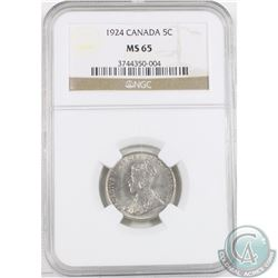 5-cent 1924 NGC Certified MS-65. Tied for 2nd highest grade with only one graded higher