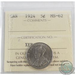 5-cent 1924 ICCS Certified MS-62