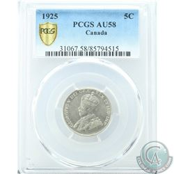 5-cent 1925 PCGS Certified AU-58. *Key Date*