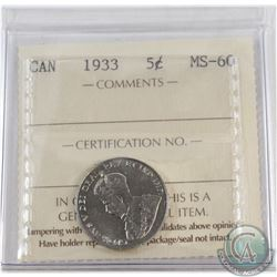 5-cent 1933 ICCS Certified MS-60.