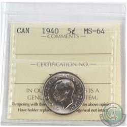 5-cent 1940 ICCS Certified MS-64