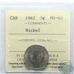 5-cent 1942 Nickel ICCS Certified MS-65