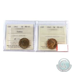 5-cent 1942 & 1943 Tombac, Both ICCS Certified MS-65  Both coin have superb eye appeal with consiste