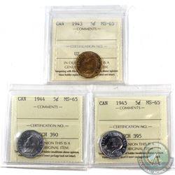 5-cent 1943, 1944, & 1945 ICCS Certified MS-65. 3pcs.
