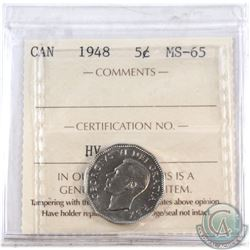 5-cent 1948 ICCS Certified MS-65