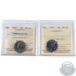 5-cent 1951 Commemorative & 1952 ICCS Certified MS-65. 2pcs.
