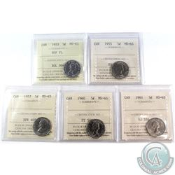 5-cent 1953 NSF FL, 1955, 1957, 1960, 1961 ICCS Certified MS-65. 5pcs.