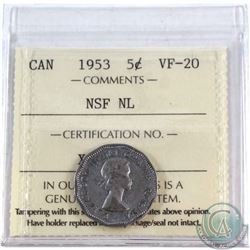 5-cent 1953 NSF NL ICCS Certified VF-20. 'MULE'
