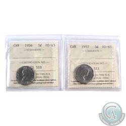 5-cent 1956 & 1957 ICCS Certified MS-65. 2pcs