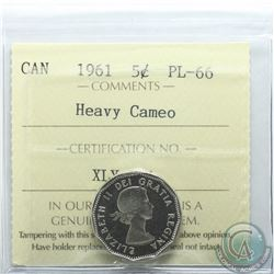 5-cent 1961 ICCS Certified PL-66 Heavy Cameo. Tied for finest known