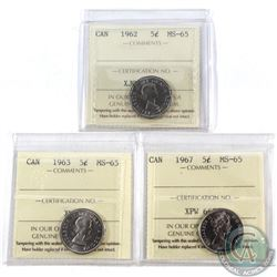 5-cent 1962, 1963, 1967 ICCS Certified MS-65. 3pcs.