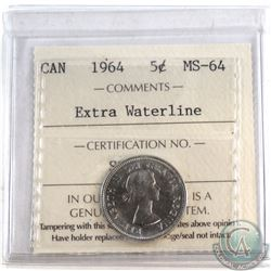 5-cent 1964 Extra Waterline ICCS Certified MS-64.