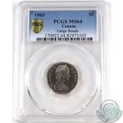 5-cent, 1965 'Large Beads' PCGS Certified MS-64  This is the Attached Jewel type, the more rare vari