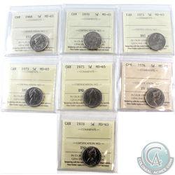 5-cent 1968, 1970, 1971, 1973, 1975, 1976, 1978 ICCS Certified MS-65. 7pcs.