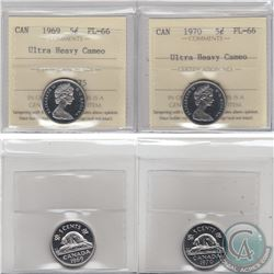 5-cent 1969 & 1970 ICCS Certified PL-66 Ultra Heavy Cameo. 2pcs