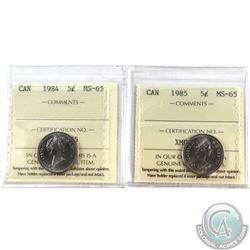 5-cent 1984 & 1985 ICCS Certified MS-65. 2pcs.