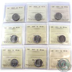 5-cent 2001P, 2005P, 2007, 2008, 2009, 2011, 2012, 2013, 2015 ICCS Certified MS-66. 9pcs.