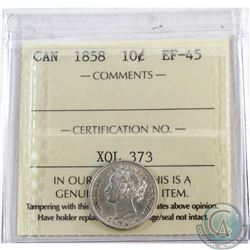 10-cent 1858 ICCS Certified EF-45  Nice first year Issue