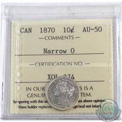10-cent 1870 Narrow 0 ICCS Certified AU-50