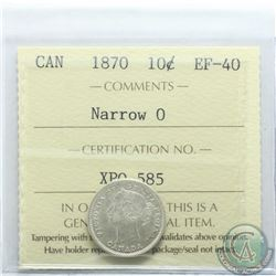 10-cent 1870 Narrow 0 ICCS Certified EF-40