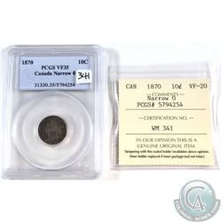 10-cent 1870 Narrow 0 PCGS Certified VF-35. Cross Graded ICCS Certified VF-20.