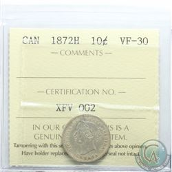 10-cent 1872H ICCS Certified VF-30