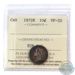 10-cent 1872H ICCS Certified VF-20