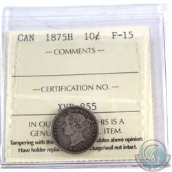 10-cent 1875H ICCS Certified F-15. Nice key date with even gunmetal grey toning.