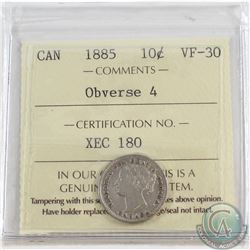 10-cent 1885 Obverse 4 ICCS Certified VF-30