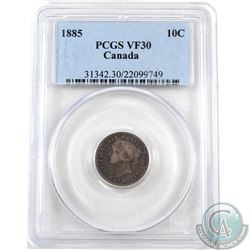 10-cent 1885 Obverse 4 PCGS Certified VF-30