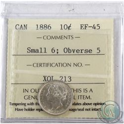 10-cent 1886 Small 6, Obv. 5 ICCS Certified EF-45. Better Obverse variety.