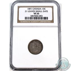10-cent 1891 21 Leaves, Small Date NGC Certified VF-35.