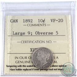 10-cent 1892 Large 9, Obv.5 ICCS Certified VF-20. This rare 22 Leaves Variety sometimes referred as