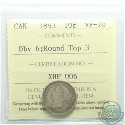10-cent 1893 Round Top 3 Obverse 6 ICCS Certified VF-20
