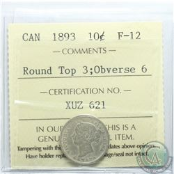 10-cent 1893 Round Top 3 Obverse 6 ICCS Certified F-12