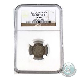 10-cent 1893 Round Top 3 NGC Certified VG-10
