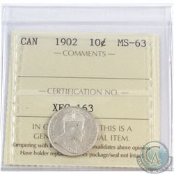10-cent 1902 ICCS Certified MS-63  Bright coin with soft satin fields.
