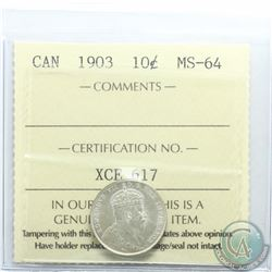 10-cent 1903 ICCS Certified MS-64. An attractive coin with great eye appeal. Only 5 graded higher