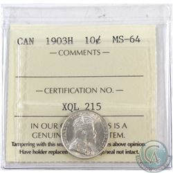 10-cent 1903H ICCS Certified MS-64  Lustrous white coin.