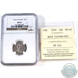 10-cent 1910 NGC Certified MS-61. Cross Graded ICCS Certified MS-62.
