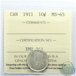 10-cent 1911 ICCS Certified MS-65. Nice bright coin with mint lustre.