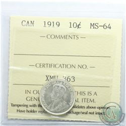10-cent 1919 ICCS Certified MS-64