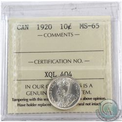 10-cent 1920 ICCS Certified MS-65  Coin has a slight die rotation not mentioned on holder.