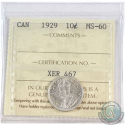 10-cent 1929 ICCS Certified MS-60.