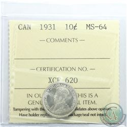 10-cent 1931 ICCS Certified MS-64