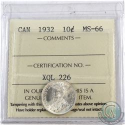 10-cent 1932 ICCS Certified MS-66  *TOP GRADE 1of 5 Known* A Premium coin with Exceptional eye appea