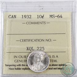10-cent 1932 ICCS Certified MS-64. Frosted white fields.