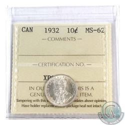 10-cent 1932 ICCS Certified MS-62