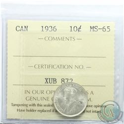10-cent 1936 ICCS Certified MS-65. Frosted Blast White coin.